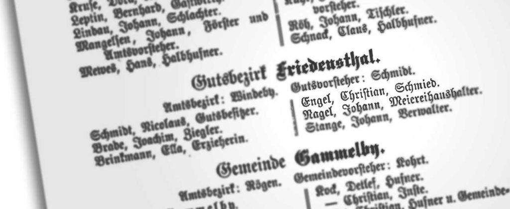 Auszug aus dem Andressbuch für den Gutsbezirk Friedensthal